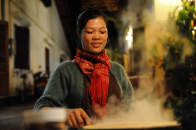 A Young Women Making Crepes