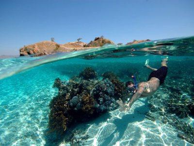 Un sub fa immersione nel mare dell'Indonesia